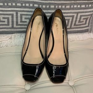 Prada patent leather dress wedges